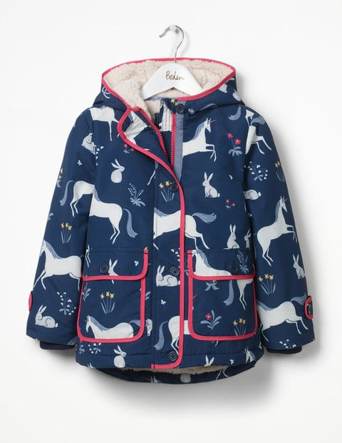 Sherpa-lined Anorak Navy Enchanted Meadow Girls Boden