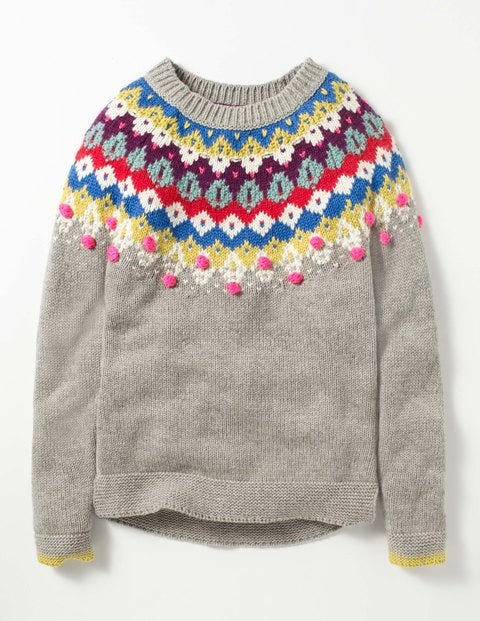 Fair Isle Sweater Grey Marl Fair Isle Girls Boden