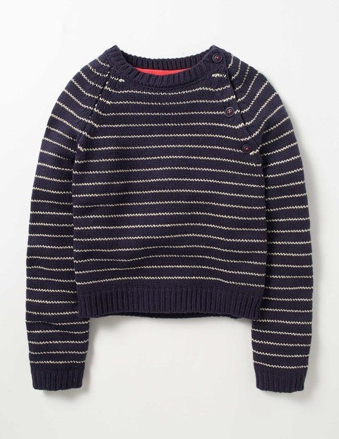 Sparkle Stripe Sweater Navy/Gold Girls Boden