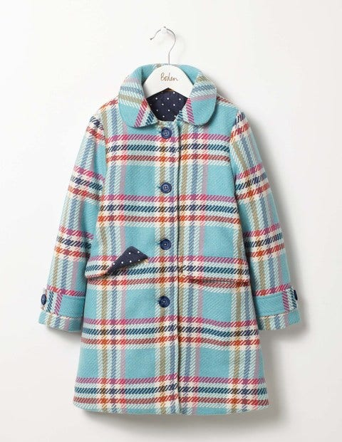 Check Wool Coat Frost Rainbow Check Girls Boden