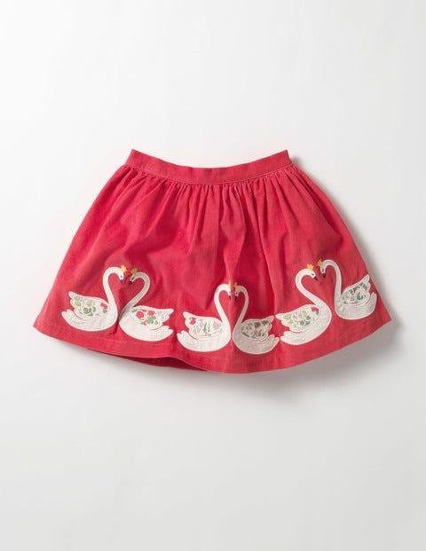 Appliqué Skirt Pinkberry Swans Girls Boden