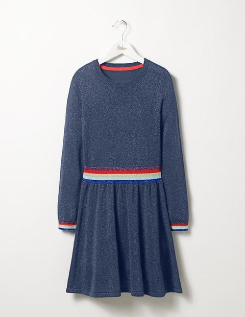 Sparkle Knitted Dress Soft Navy Girls Boden