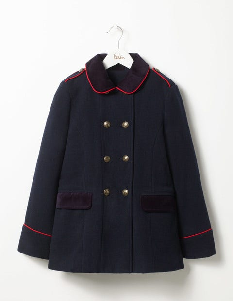 Military Wool Coat Navy Girls Boden