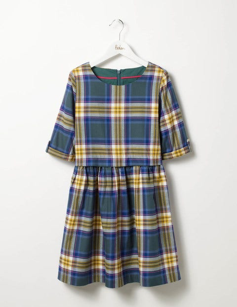 Check Woven Dress Green/Party Pink Check Girls Boden