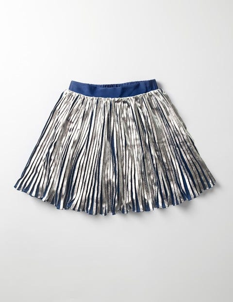 Metallic Pleat Skirt Silver Girls Boden