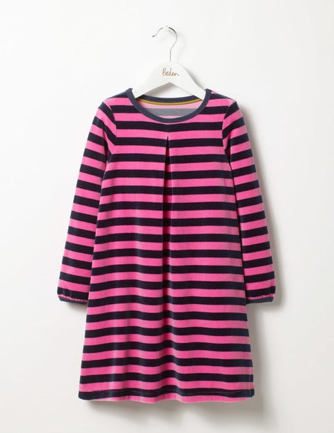 Cosy Velour Dress Stormy Blue/Plum Blossom Pink Girls Boden