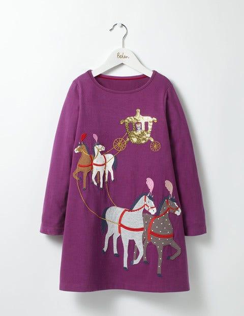 Fairytale Appliqué Dress Blackcurrant Purple Horses Girls Boden