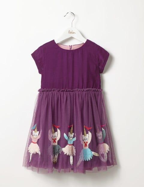 Velvet Tulle Dress Blackcurrant Purple Girls Boden