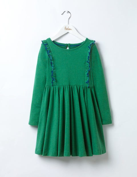 Ruffle Jersey Dress Crocodile Green Girls Boden
