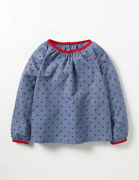 Cosy Woven Top Chambray/Ladybird Red Spot Girls Boden