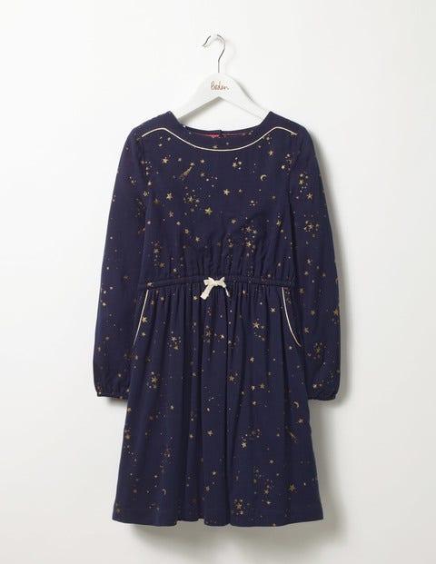 Star Print Dress Navy Gold Star Girls Boden