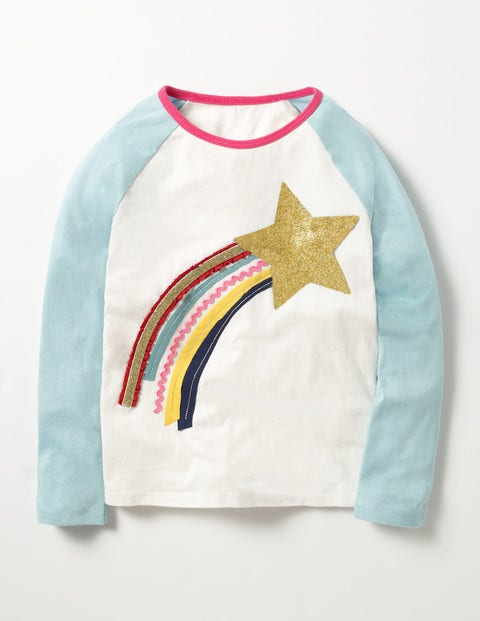 Glitter Raglan T-shirt Ecru Shooting Star Girls Boden