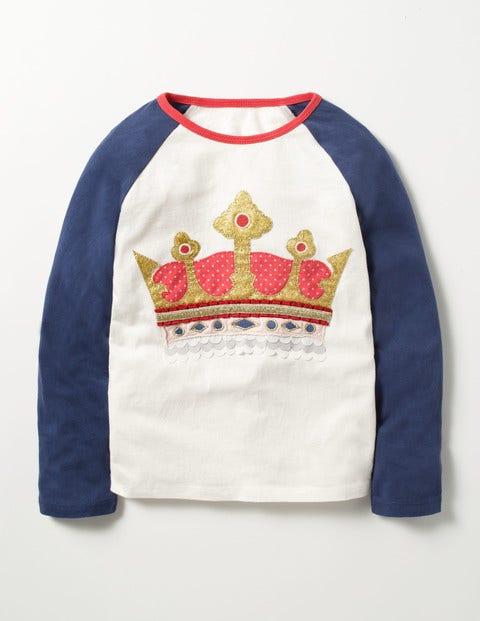 Glitter Raglan T-shirt Navy Crown Girls Boden