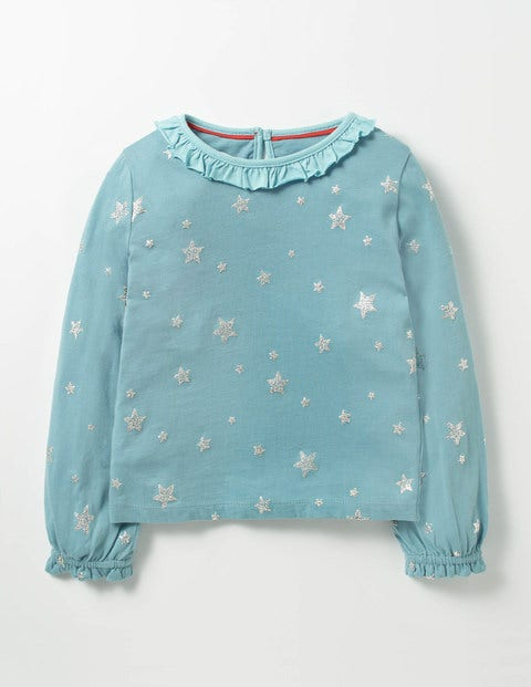 Sparkly Star T-shirt Frost Blue Stars Girls Boden