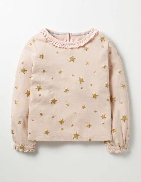 Sparkly Star T-shirt Provence Dusty Pink Stars Girls Boden