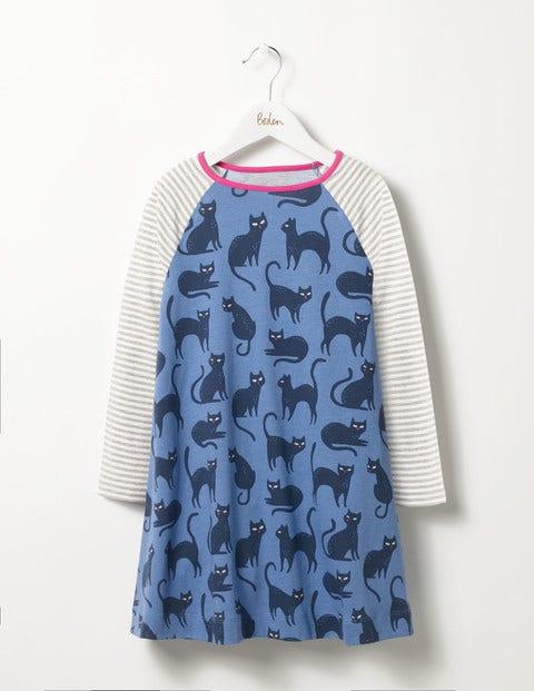 Glow-in-the-dark Cat Dress Blue Creepy Cats Girls Boden