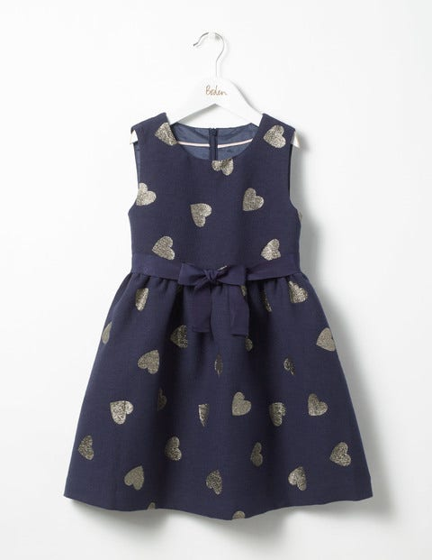 Heart Jacquard Dress School Navy Hearts Girls Boden
