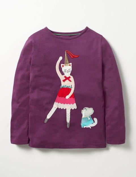 Pretty Festive T-shirt Blackcurrant Purple Cat Girls Boden