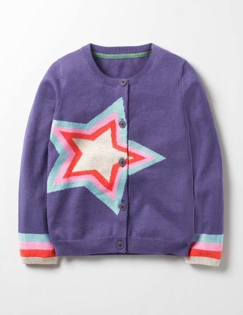 Rainbow Star Cardigan Misty Purple Star Girls Boden