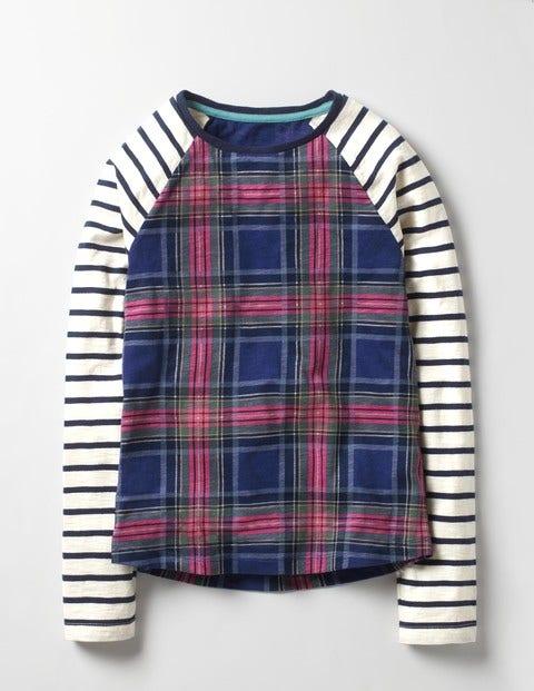 Check Jersey T-shirt Stripe/Navy Check Girls Boden