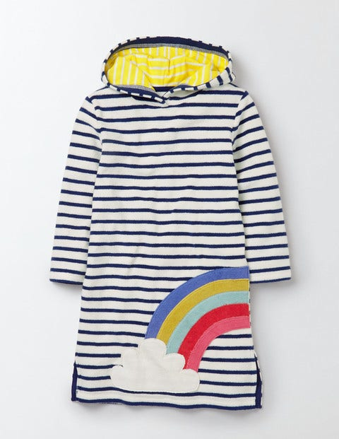 Towelling Beach Dress Ivory/Starboard Rainbow Girls Boden