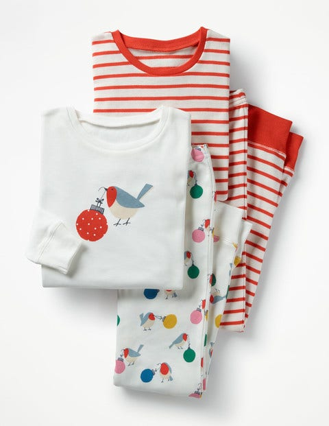 Twin Pack Cosy Long Johns Ivory Robin Girls Boden