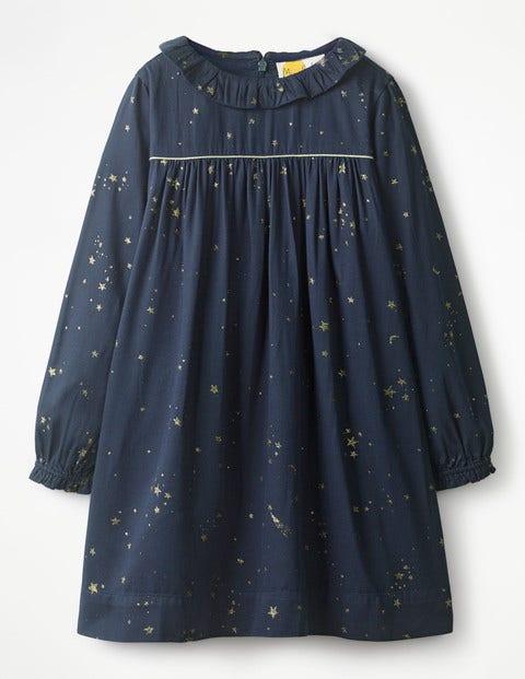 Ruffle Collared Dress - Navy/Gold Star