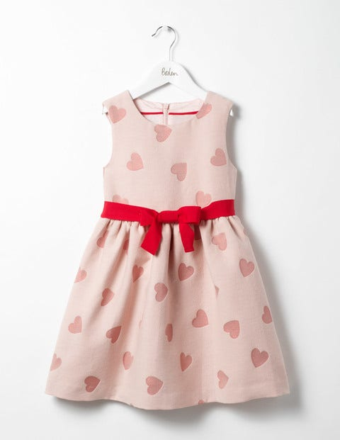 Heart Jacquard Dress Provence Dusty Pink Hearts Girls Boden