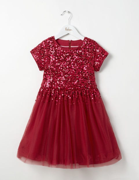 Kids 1950s Clothing & Costumes: Girls, Boys, Toddlers Sequin Tulle Party Dress Red Girls Boden Red £45.00 AT vintagedancer.com