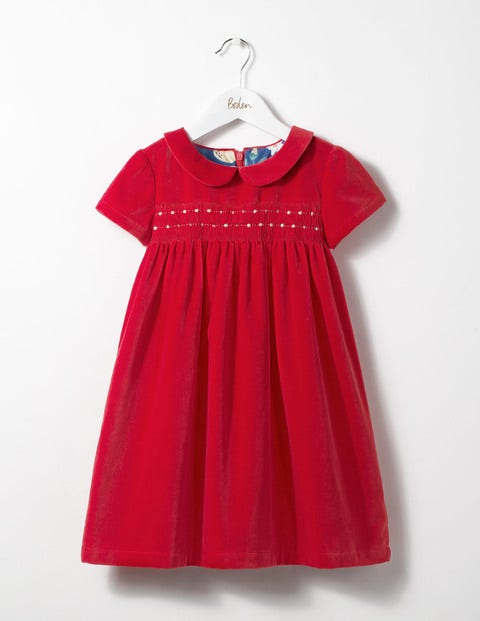 Collared Smock Dress Ladybird Red Girls Boden