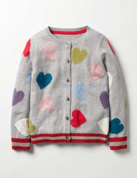 Rainbow Hearts Cardigan Grey Marl Multi Hearts Girls Boden