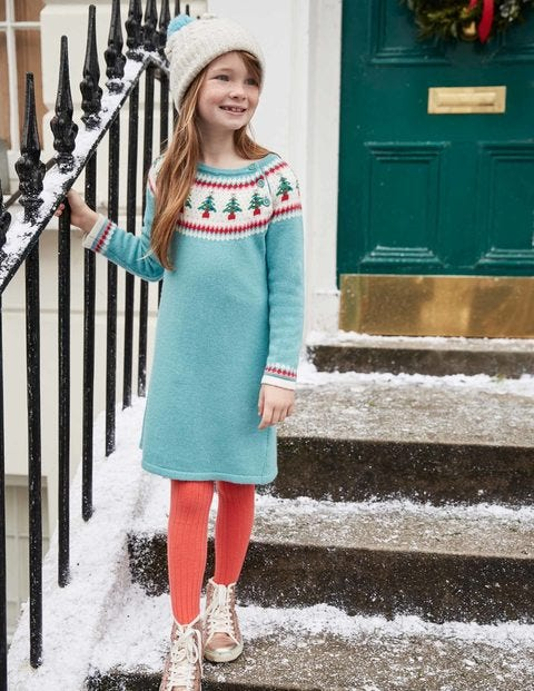 Festive Fair Isle Dress G0236 Knitted Dresses at Boden