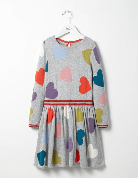 Rainbow Hearts Knitted Dress Grey Marl Multi Hearts Girls Boden
