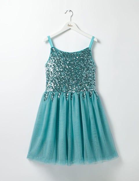 Sequin Party Dress Frost Blue Girls Boden