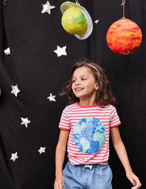 Sequin Colour-Change T-Shirt - Ecru/Pink Planet