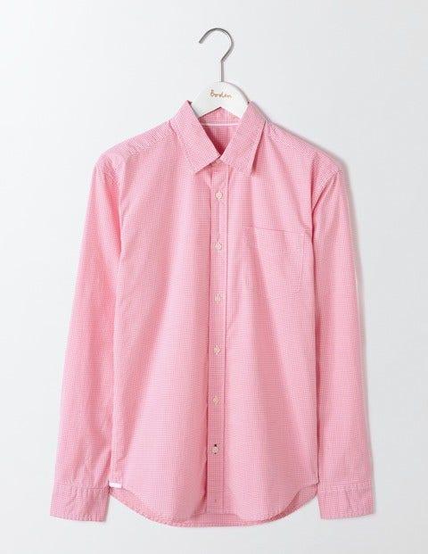 Poplin Pattern Shirt Pink Microgingham Men Boden