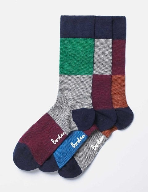 Favourite Socks Birdseye Colourblock Pack Men Boden