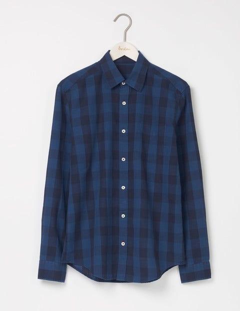 Linen Cotton Pattern Shirt Blues Gingham Men Boden