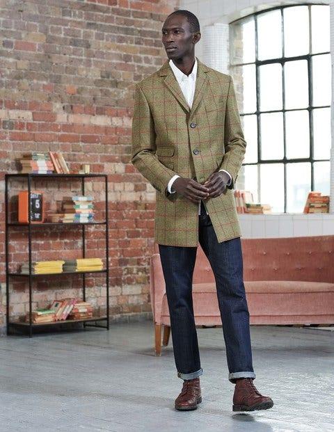 British Tweed Overcoat Sage Windowpane Men Boden
