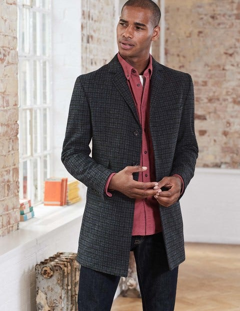 British Tweed Overcoat Charcoal Houndstooth Men Boden
