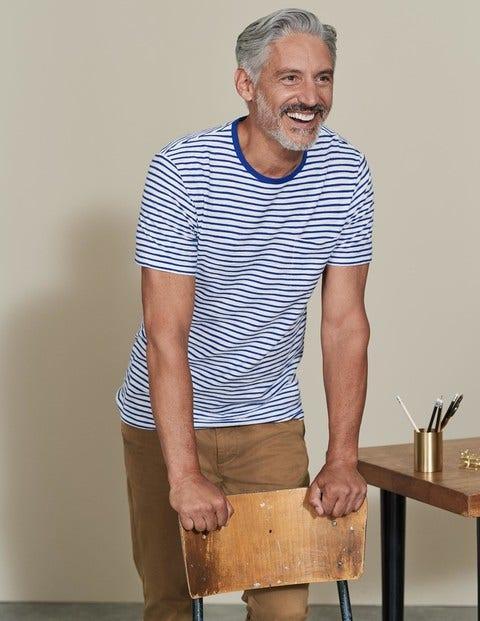 60s Shirts, Tops, Blouses | 70s Shirts, Blouses Slub Stripe Crew Off WhiteWinter Blue Stripe Men Boden Blue £25.00 AT vintagedancer.com