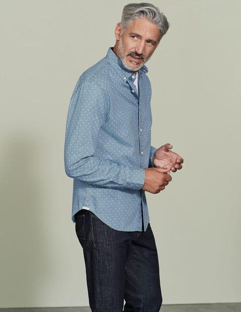 Slim Fit Printed Indigo Shirt Blue Men Boden, Blue