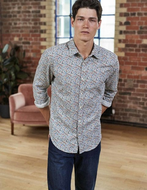 Slim Fit Printed Twill Shirt Multi Ditsy Floral Men Boden