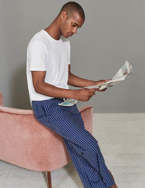 Cotton Poplin Pull-ons Navy/Ecru Stripe Men Boden