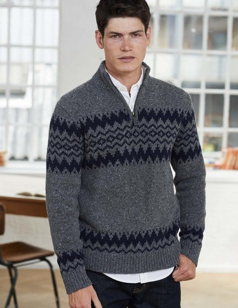 Fair Isle Half-Zip M0104 Knitted Jumpers at Boden