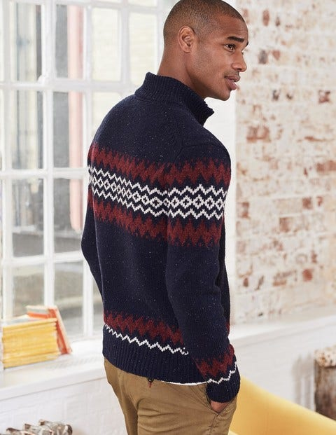 Fair Isle Half-Zip M0104 Knitted Sweaters at Boden