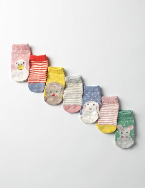 7 Pack Sock Box Woodland Friends Baby Boden, Multi