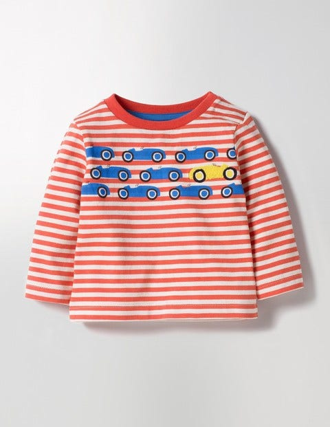 Spot The Difference T-shirt Crayon Red/Ecru Cars Baby Boden