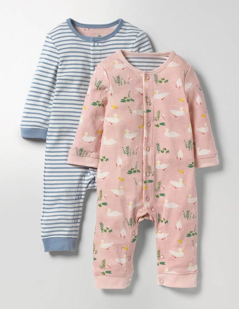 Twin Pack Pretty Playsuit Milkshake Ducks/Wren Stripe Baby Boden, Pink
