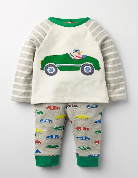 Fun Jersey Play Set Grey Marl Vintage Cars Baby Boden, Multi